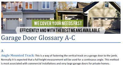 Glossary - Garage Door Repair Rosenberg